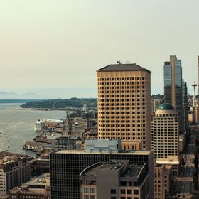 Looking over Seattle on top of the Smith Tower