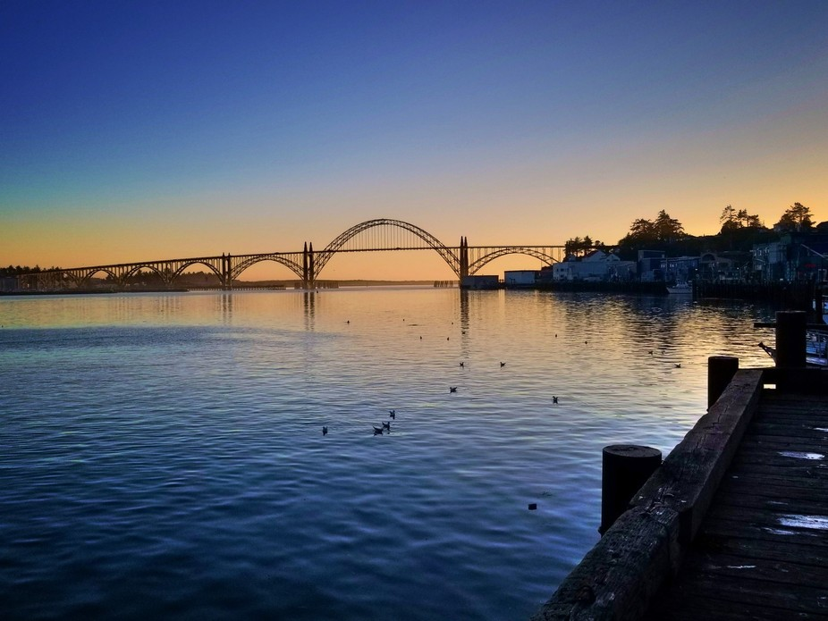 Yaquina Bay Bridge as the sun sets.