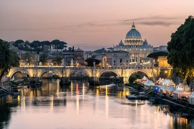 Tiber and San Pietro from Ponte Sant'Angelo