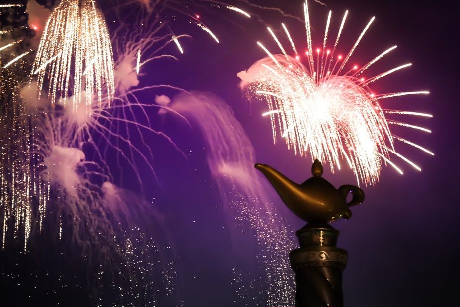 A fireworks show at Disney's Magic Kingdom, Orlando.