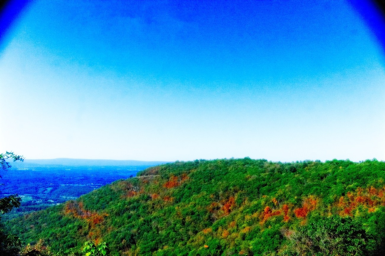 The foliage is just beginning in the Smokey Mountains. Taken from Skyline Drive. The blue haze is in the background.