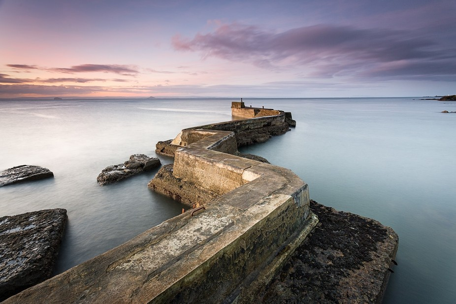 Long exposure sunrise photo of the pier at St Monans in Fife, Scotland
