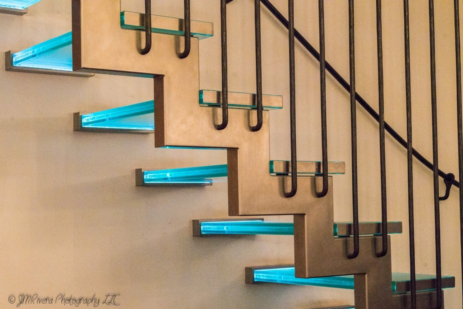 These are a set of glass blue stairs in Cologne, Germant.
