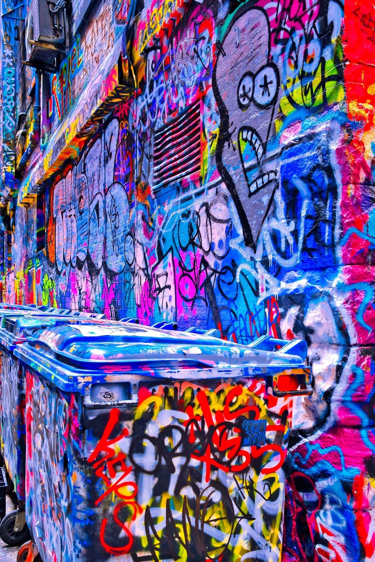 Another fine example of the famous  street art found in the alleys of downtown Melbourne, Australia.  Nothing is sacred from being painted or being the subject of the street artists.