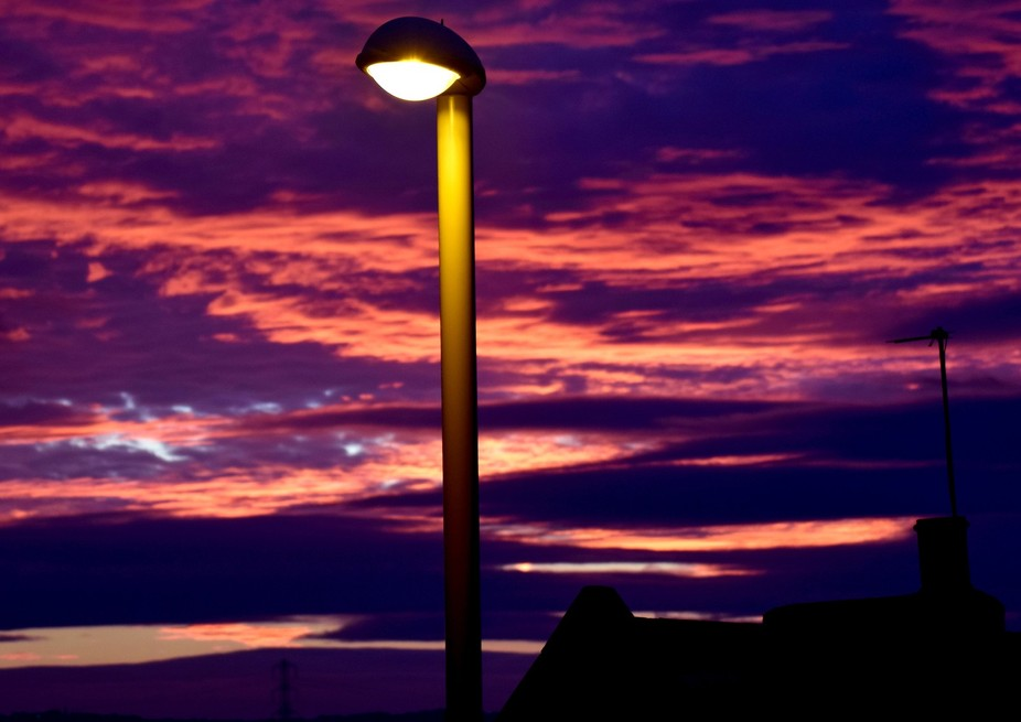 Sunset and street lamp at Stanhope road South Shields 1st November 17