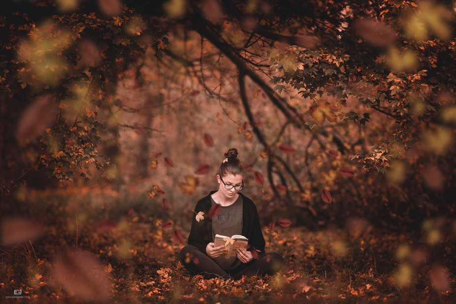 Beauty girl reading in forest...