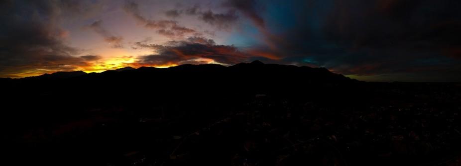 Last light over Pikes Peak, Colorado Springs, CO. 21 shot Dronarama using DJI Spark.