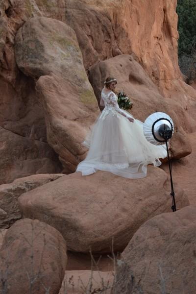 Bridal Photo Shoot in Garden of the Gods