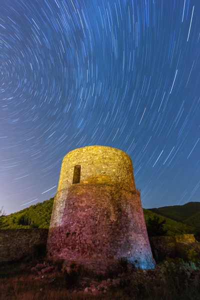Rytro castle ruins with stars