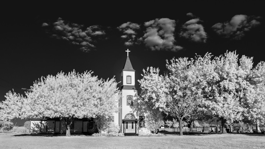 Texas backroad church, infrared
