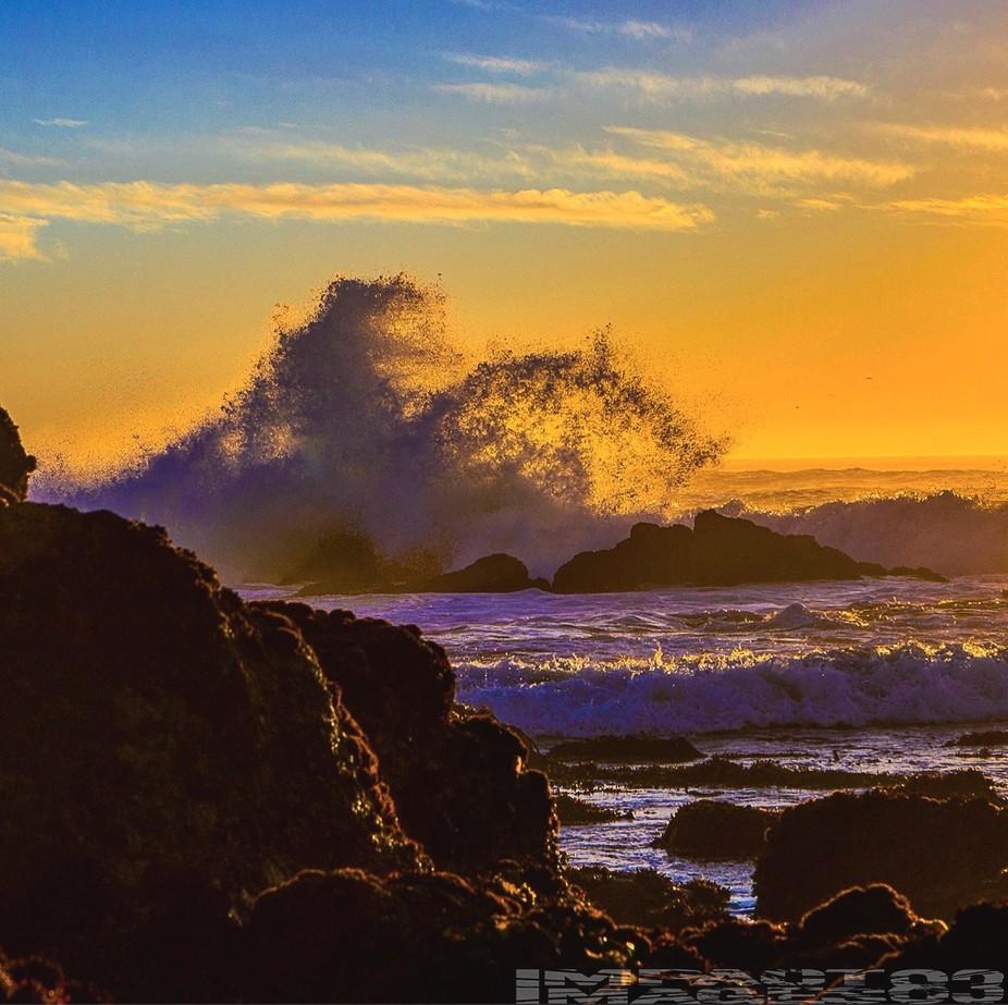 Coastal Water Dance at Sunset