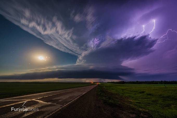 Flasher Supercell and Full Moon by furious_skies - Image Of The Month Photo Contest Vol 28
