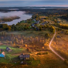 Dawn in the natural park. Veps Forest is a specially protected natural area of ​​regional importance. Group of Vepsian villages (Makaryevskay...