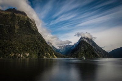 Milford Sound is a fiord In New Zealand located in Fiordland National Park. The Sound meanders to the Tasman Sea through fiords some of which are 4,900 feet.  This area has on average 200 days of rain so I was lucky to be given such a beautiful day.