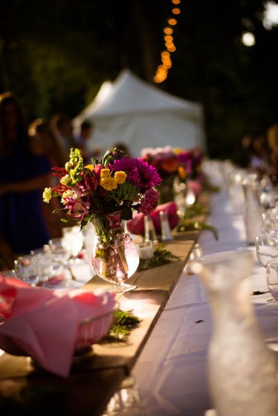 Boquet at the reception table