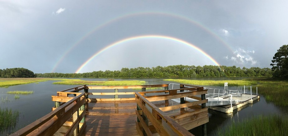 Beautiful double rainbow from beginning to end