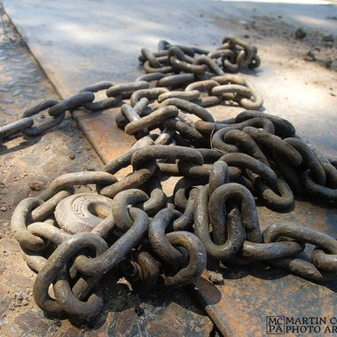 Pile of chain on a transport trailer