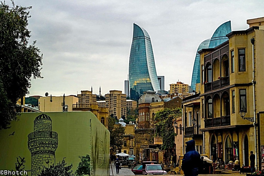 Day time view of the Flame towers from the old city, Baku