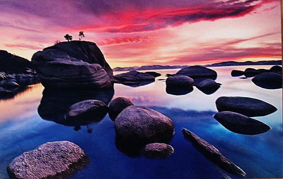 tahoe sunset with rock