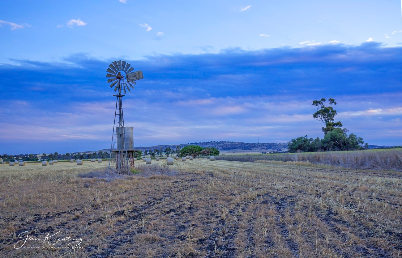looking towards Mt Major the windmill at dusk ...Dookie Australia.