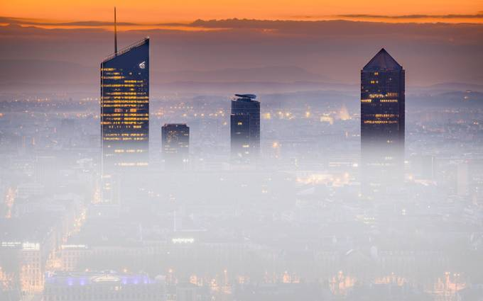 Fog in the morning on the towers of Lyon by FredericMONIN - Fog And City Photo Contest