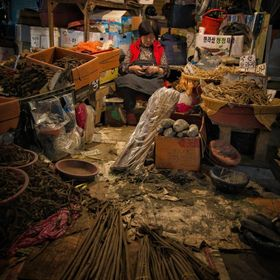 A lady sells roots for traditional cooking in this old market in Busan, South Korea