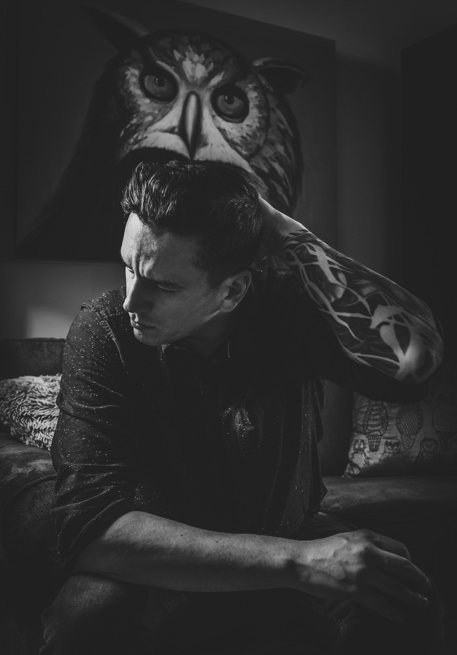 Owl Painting by knoxphoto - Selfies In Black and White Photo Contest