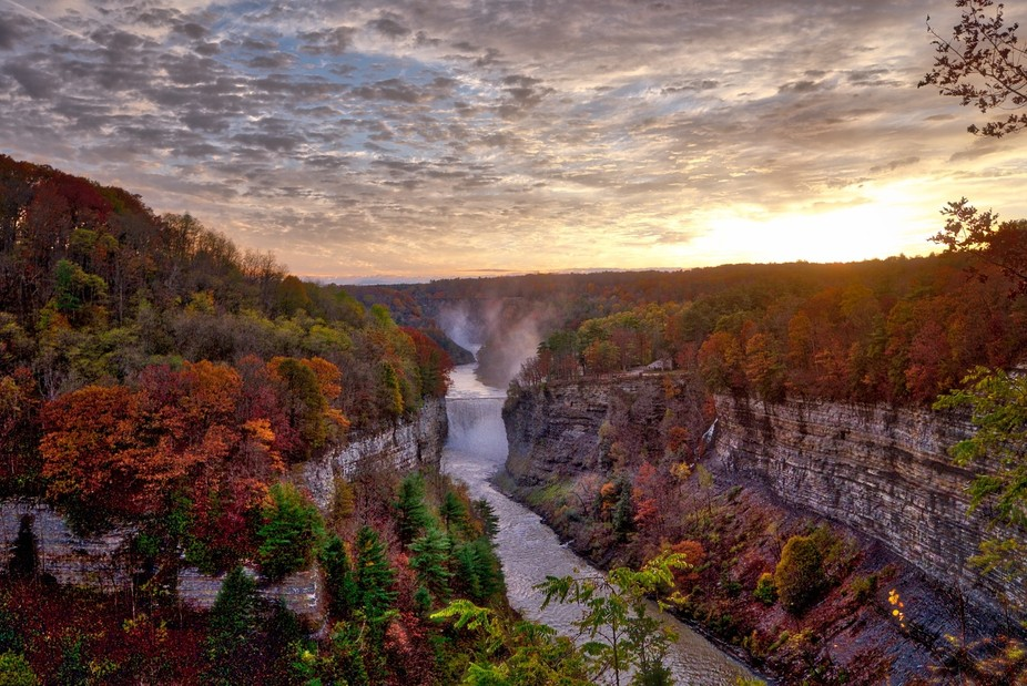 The middle and upper falls at Letchworth State Park in Western, NY