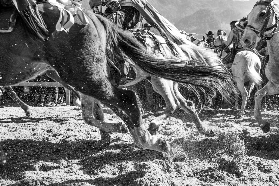 Photo of the horses from the Drunken Horse Races of Todos Santos, Guatemala running from the star...