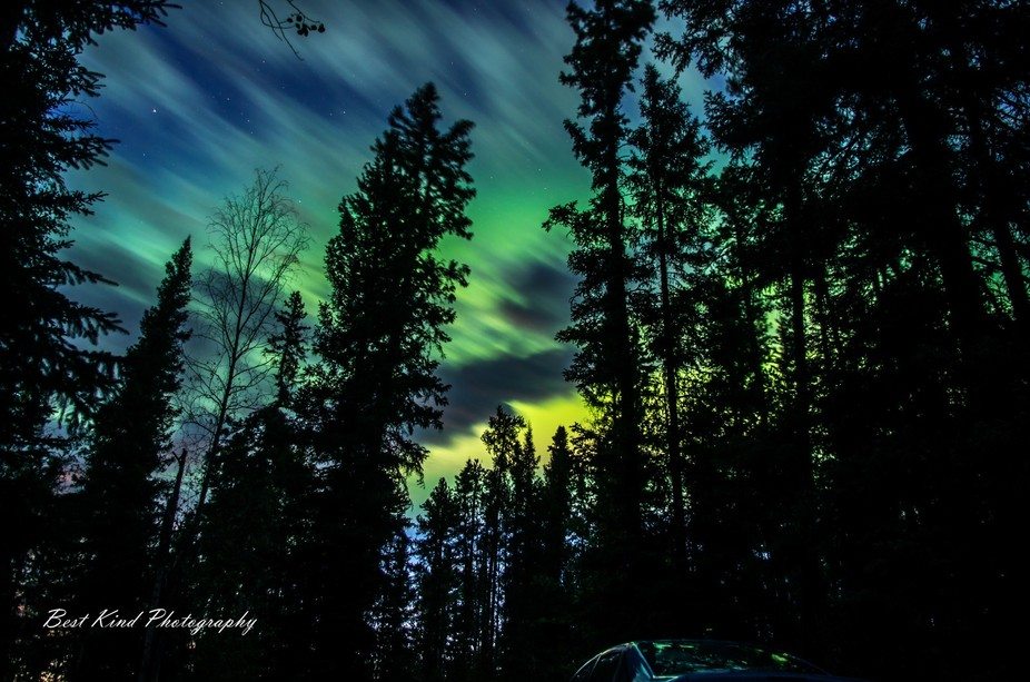 Northern lights observed in Samba Deh Falls Territorial Park, Northwest Territories