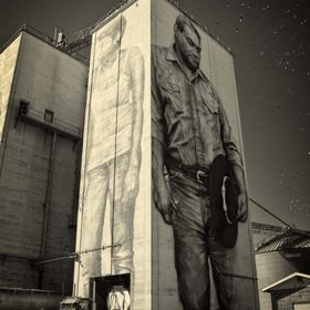 OK Foods grain towers in Fort Smith, AR transformed into art by Guido van Helten.