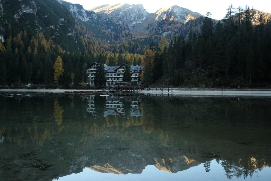 Sonnenuntergang, Hotel Pragser Wildsee, Südtirol