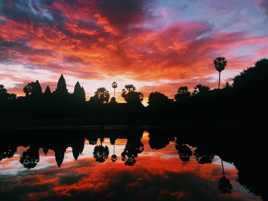 'Fire' Angkor Wat, Siem Reap, Cambodia, September 2017