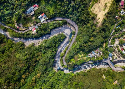 The road leading up to Manyueyuan National Forest Recreation Area in Taiwan.