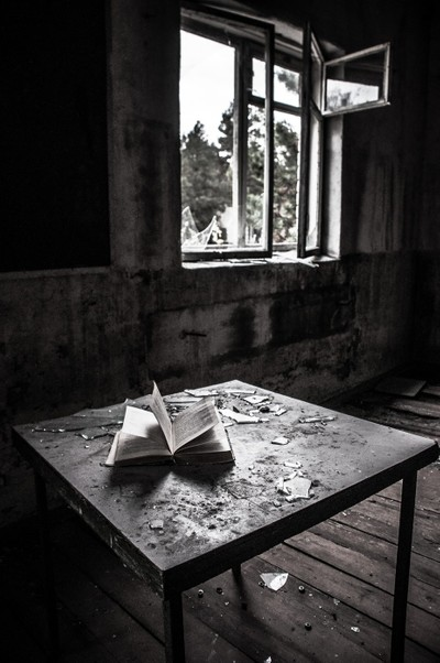 Classroom in a school of the abandoned town of Pripyat, Chernobyl Exclusion Zone, Ukraine