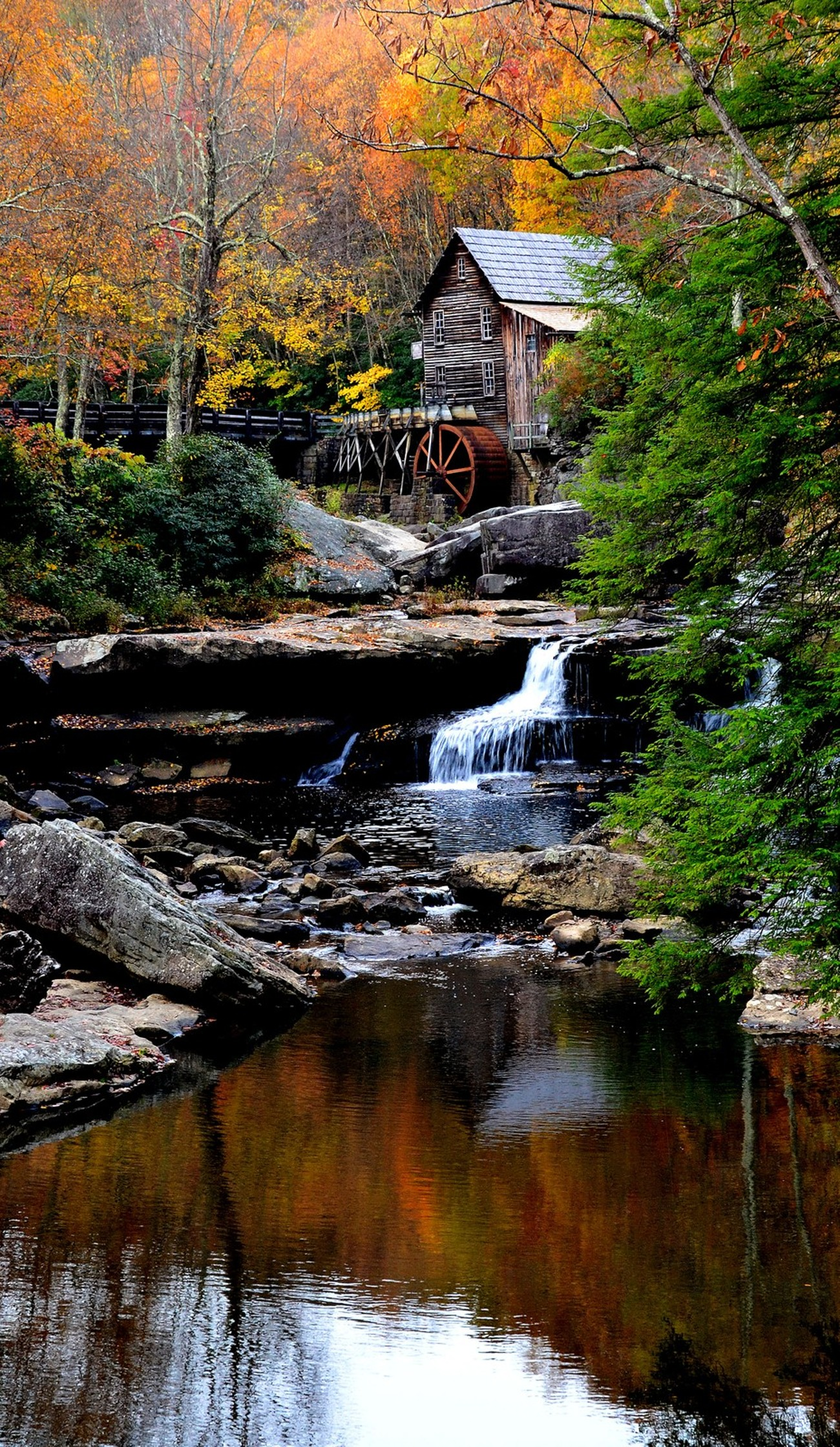 Babcock Grist Mill with reflection in foreground