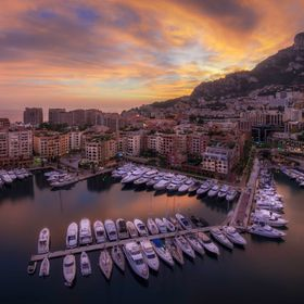 Photo taken at sunset of the beautiful Monaco Bay, on the cliff above the Zoo of Monaco, near the Palace. The sunset was amazingly beautiful and ...