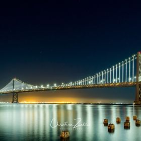 Bay Bridge in San Francisco after sunset.