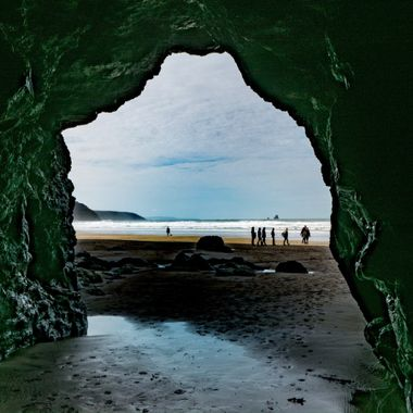 Cave at Perrinporth beach