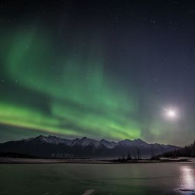 The moon was bright but the aurora out shined her. Knik river swimming hole.