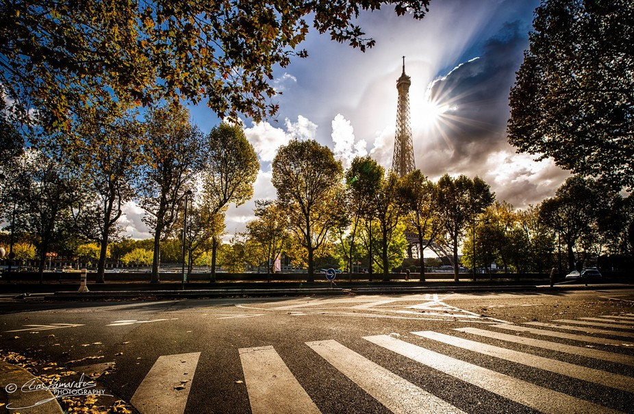 A view of the Eiffel Tower on a crisp autumn morning.