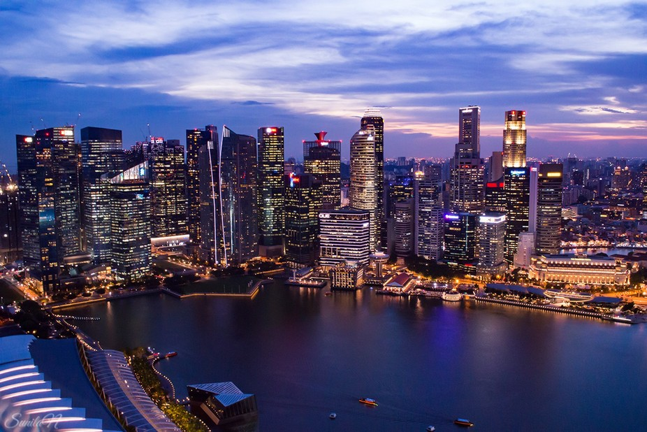 Evening view from Marina Bay Sands, Singapore