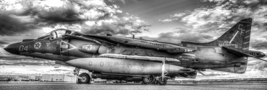 Marines Harrier Jet in Black and White