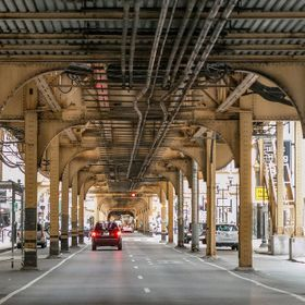 A view from under the elevated train in Chicago, IL.