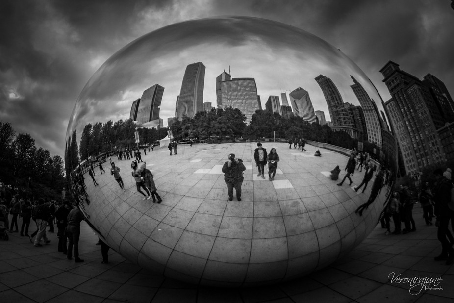 A shot of The Bean in Millenium Park in Chicago, IL...  taken from the North end.