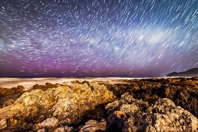 Aurora night at the Wellington South Coast, New Zealand