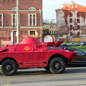 "BRDM (initialism for Boyevaya Razvedyvatelnaya Dozornaya Mashina), literally ""Combat Reconnaissance Patrol Vehicle"". Called ""Safe ..."