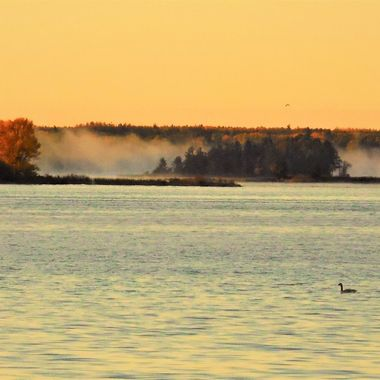 Looking south into Black Bay from the Voyageurs Nat'l Park Visitors Center at sunrise on a cool day in October. Nikon Coolpix 6500
