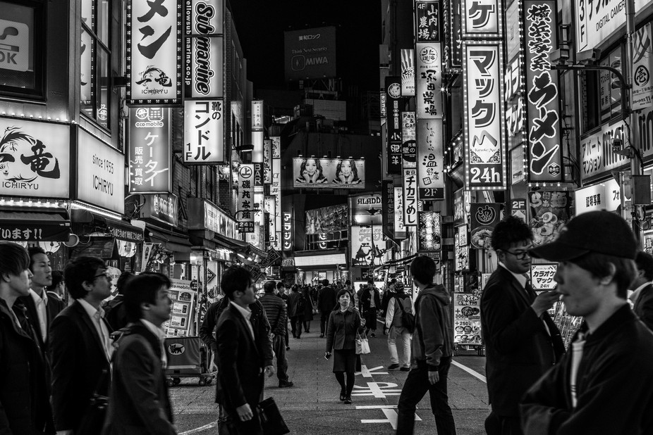 Walking down the street of Tokyo, Japan