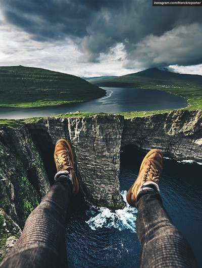 At the edge of the world at faroe islands